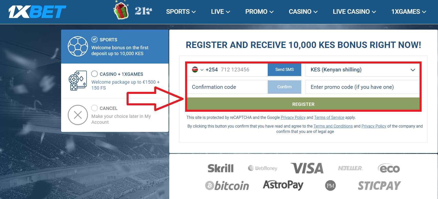 1xBet registration in Kenya